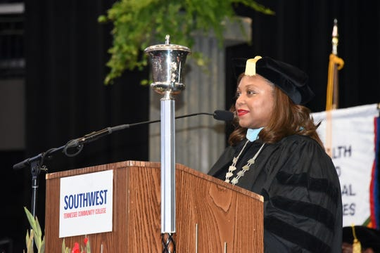 Southwest Tennessee Community College President Tracy D. Hall addresses the College's 21st Annual Commencement held May 11, 2019, at FedExForum.