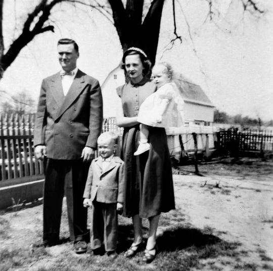 Morris and Helen Tschannen and their children Bob and Bev on Easter in 1954 at Helen's family farm in Greenville, Illinois.