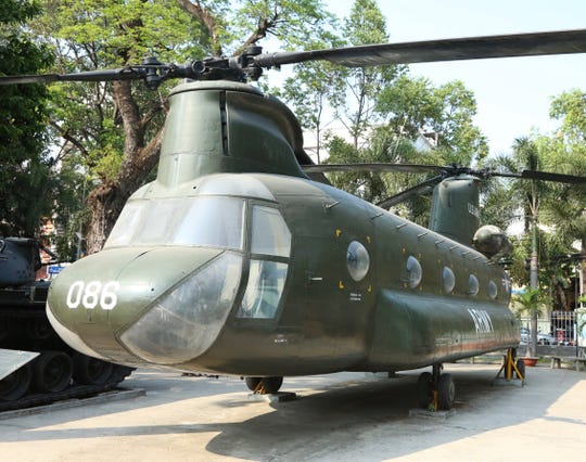 A U.S. Army helicopter is displayed at the War Remnants Museum in Saigon.