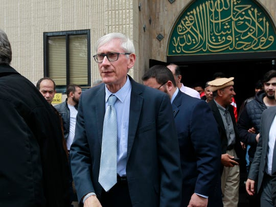 Gov. Tony Evers leaves the Islamic Center of Wisconsin after addressing members of the Muslim community on May 24, 2019.