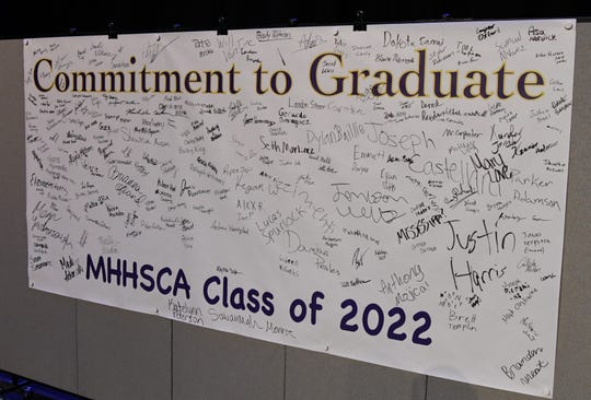 "This ""Commitment to Graduate"" banner, signed by members of the Mountain Home Junior High School freshmen class, will follow the students over to the High School next year."