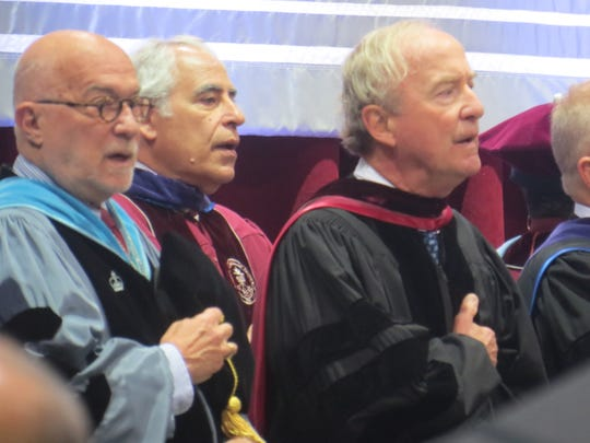 Former 12-term Congressman Rodney Frelinghuysen, right, at the Mennen Arena in Morris Township to accept an honorary degree during the County College of Morris 2019 commencement. May 24, 2019.