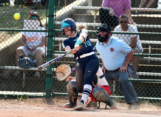Siegel's Caitlyn McCrary (10) hits her second of 2 homers against Jefferson County during the Class AAA State Girls Softball first Championship game on Friday, May 24, 2019, on the last day of Spring Fling, in Murfreesboro.
