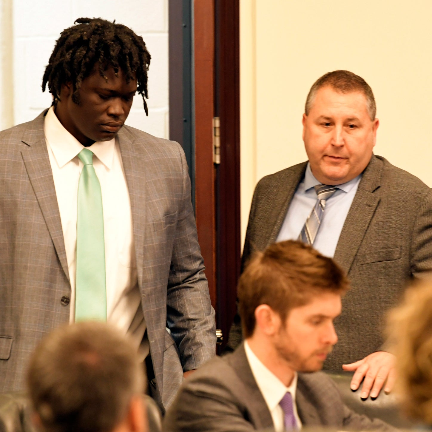 Emanuel Samson enters the courtroom for the jury verdict on Friday, May 24, 2019. Samson was indicted on 43 counts in the case, including first-degree murder in the shooting death of Melanie Crow during the 2017 Antioch church shooting.