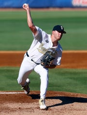 Vanderbilt pitcher Mason Hickman throws a pitch during the first inning of the team's Southeastern Conference tournament game against Auburn on May 22, 2019, in Hoover, Ala.