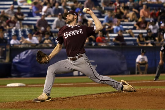Mississippi State's Ethan Small, the SEC Pitcher of the Year, pitches against Vanderbilt on Thursday in the SEC Tournament in Hoover, Ala.