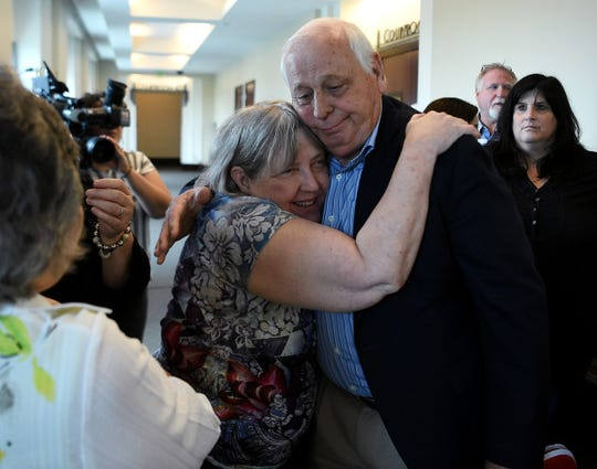 Sheila Crow, mother of victim Melanie Crow, rejoices in the verdict in the Emanuel Samson trial.