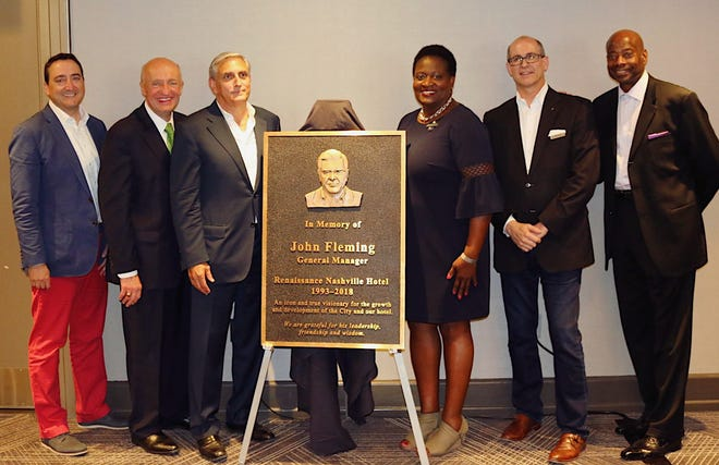Nashville leaders gathered to unveil a plaque in memory of John Fleming, who died last year.