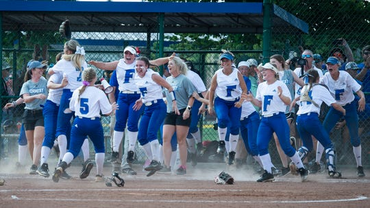 Forrest celebrates after defeating Lexington 3 to 1 during the TSSAA Class AA State Girls' Softball Championship at Murfreesboro Sports Complex Friday, May 24, 2019 in Murfreesboro, Tenn.