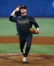 Vanderbilt's Drake Fellows throws a pitch during the first inning against Mississippi State on Thursday.