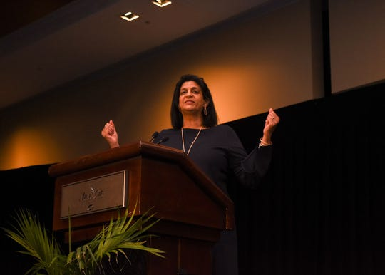 Gail Williams speaks at the Music City Center during the Community Foundation's annual Francis S. Guess Bridge to Equality Fund Luncheon.