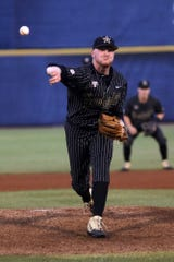 Vanderbilt junior Drake Fellows pitches against Mississippi State on Thursday in the SEC Tournament in Hoover, Ala.