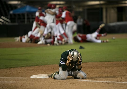 Jordan Martinez of Seacrest Country Day School reacts after its loss to Miami Christian in the Class 2A state baseball finals at Hammond Stadium on Thursday in Fort Myers.