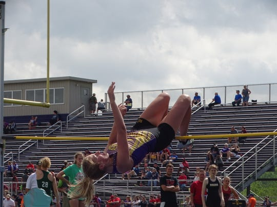 Bloom-Carroll senior Madelyn Nye competes in the high jump Thursday during the Division II regional meet at Lexington.
