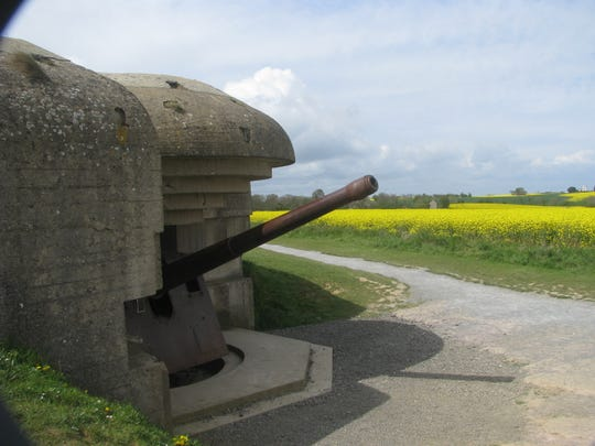 Nazi fortifications near the Gold Beach site at Arromanches, Normandy.