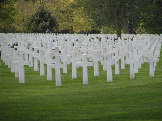 A view of the American Cemetery at Coleville-sur-Mer, just above the Omaha Beach site in Normandy, France.