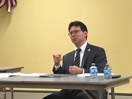 "Ridgefield Mayor Anthony Suarez spoke in New Milford on Monday about new book, ""Politically Indicted."""