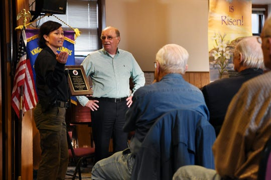 The Knights of Columbus 3632 honor members of the Cedar Grove Police Department with the Shield Award at St. Catherine of Siena Church on Thursday, May 23, 2019. (left) Lieutenant Eileen O'Toole speaks after receiving an award as (center) Ray Scally, Shield Award Chairman, looks on.
