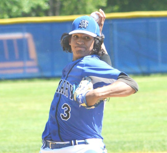 St. Mary starter Kenny Quijano firing a pitch against Ridgewood in the Bergen County tournament game.