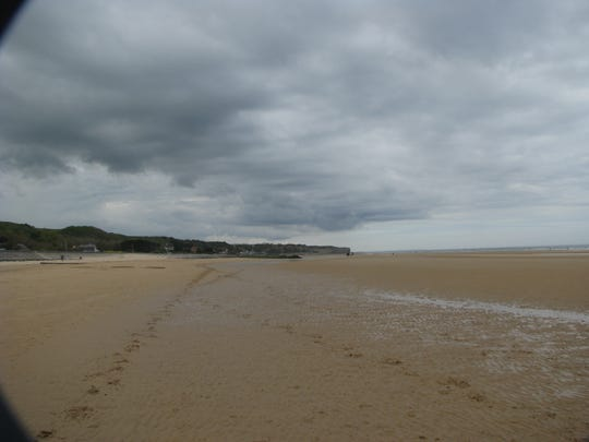 A view of Omaha Beach at Les Moulins, Normandy, where some American forces landed on the June 6, 1944 invasion of Normandy.