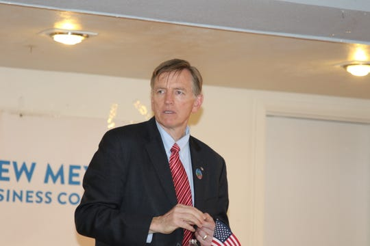 Rep. Paul Gosar (R-AZ) addresses energy issues during the May 23 New Mexico Business Coalition Carlsbad Business and Social Hour.