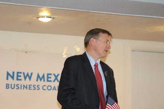 Rep. Paul Gosar talks energy issues during the New Mexico Business Coalition Carlsbad Business and Social Hour May 23.