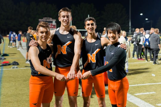 Northville's Brandon Kearney, Nolan Knight, Nick Couyoumjian and Brandon Liu, who make up the 4x400 relay team, pose after the race.