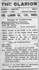Clipping from the St. Landry Clarion newspaper of February 17, 1912 listing Raymond Breaux as editor and president of rhe paper.
