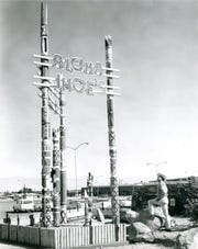 Aloha Jhoe's restaurant with tikis. Itt was located at 950 South Palm Canyon.