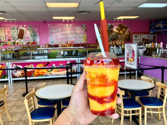 La Michoacana Ice Cream Parlor in Cathedral City uses mango ice cream for a more sweet mangoneada taste.