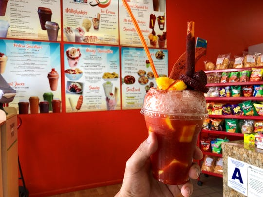 Mangos in Cathedral City uses shaved ice for their mangoneada.