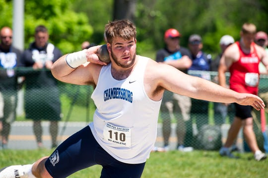 Chambersburg's Brock Harmon competes in the 3A shot put during the PIAA track and field championships at Shippensburg University on Friday, May 24, 2019. Harmon received fifth place with a top put of 56-04.75.