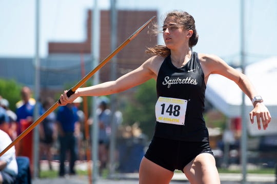 Delone Catholic's Maddie Sieg competes in the 2A javelin throw during the PIAA track and field championships at Shippensburg University on Friday, May 24, 2019. Sieg claimed fifth place with a top throw of 128-05.