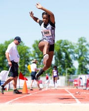 South Western's Zaiyah Marshall competes in the 3A triple jump during the PIAA track and field championships at Shippensburg University on Friday, May 24, 2019. Marshall claimed sixth place with a jump of 38-02.50.