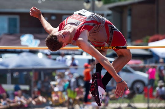 Bermudian Springs' Kolt Byers competes 2A high jump during the PIAA track and field championships at Shippensburg University on Friday, May 24, 2019. Byers won the event with a jump of six feet, seven inches.