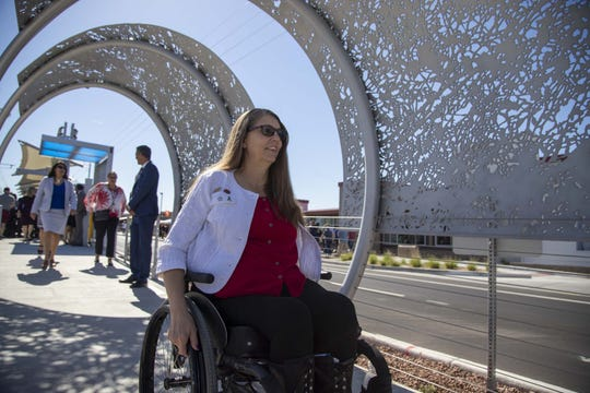 State Rep. Jen Longdon attends the opening of a new light-rail station near Ability 360, one of Arizona's largest disability resource centers, on April 24, 2019. Longdon usually takes a bus to and from her home, which is about a mile and a half from the state Capitol.