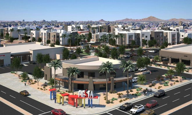 A rendering of a proposed commercial and residential space across from the mostly vacant Fiesta Mall in Mesa.