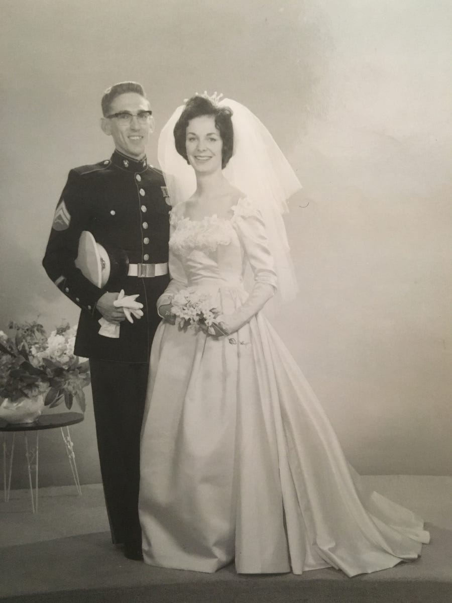 Dave and Marilyn Bland on their wedding day.