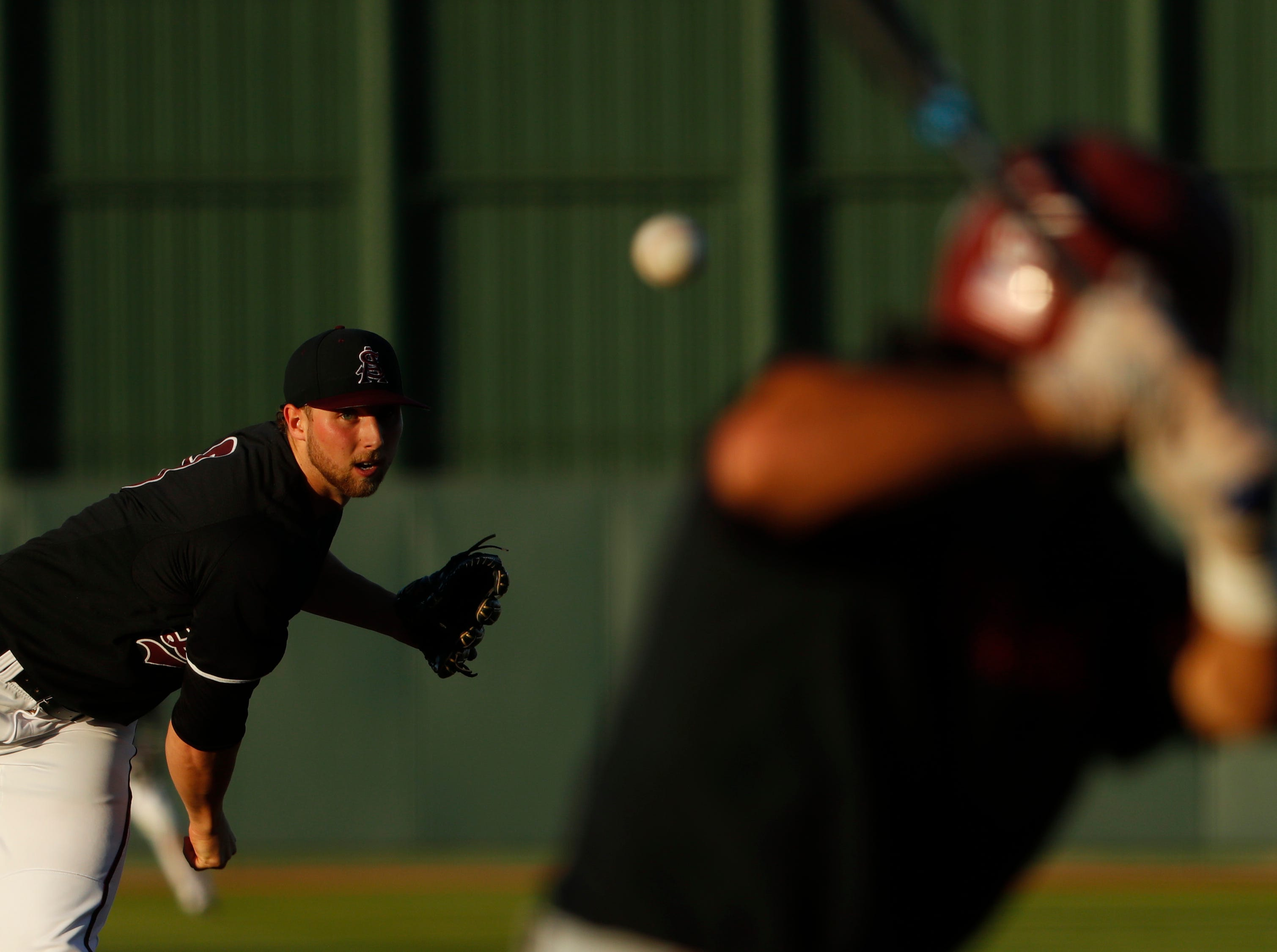 ASU's Alec Marsh (8) pitches against Stanford during the first inning at Phoenix Municipal Stadium in Phoenix, Ariz. on May 23, 2019.