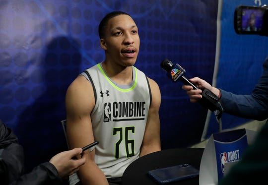 Grant Williams out of Tennessee speaks with the media during the second day of the NBA Draft Combine in Chicago on May 17.