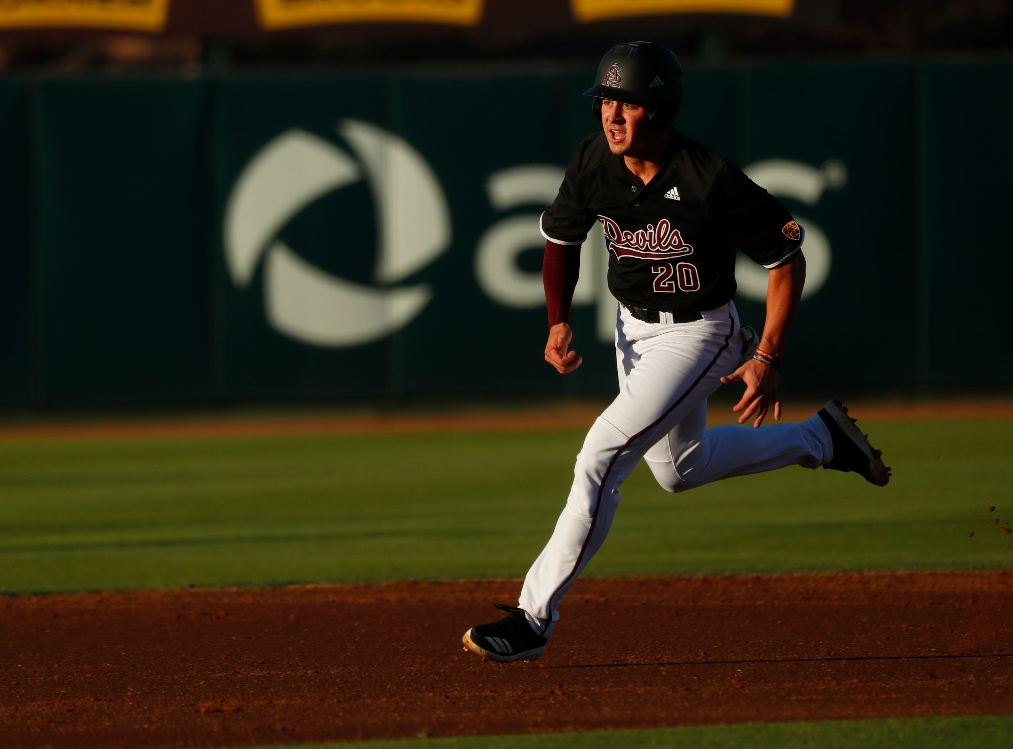 ASU's Spencer Torkelson (20) comes to third base against Stanford at Phoenix Municipal Stadium in Phoenix, Ariz. on May 23, 2019.