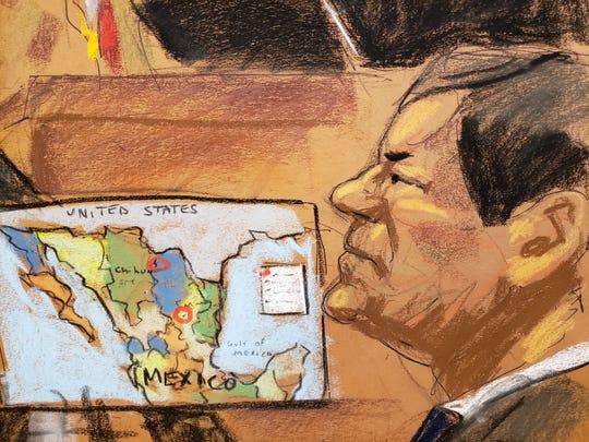 """Reproducción fotográfica de un dibujo realizado por la artista Jane Rosenberg donde aparece el narcotraficante mexicano Joaquín """"El Chapo"""" Guzmá."""
