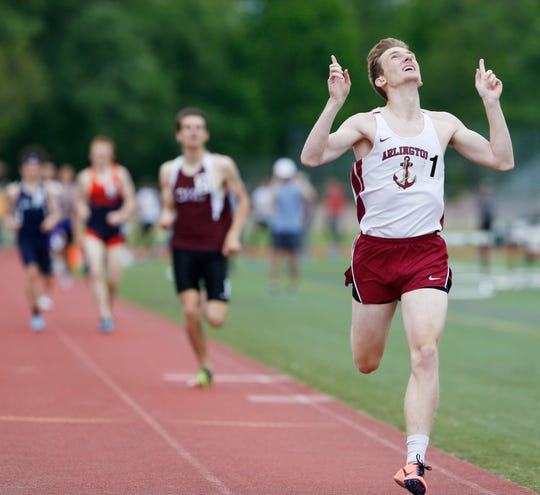 Arlington's Mark Scanlon crosses the finish line ahead of Scarsdale's Eric Jacobson in the 800 during the Section 1 Class A Track & Field Championship in Freedom Plains on May 23, 2019.