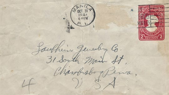 Envelope sent by Robert W. Campbell to Chambersburg, Pa. on October 31, 1941.