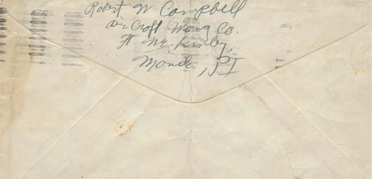 "Back of envelope sent by Robert W. Campbell on October 31, 1941 to Chambersburg, Pa. On the inside of the envelope it reads ""will send you more later on, ok Robert W. Campbell."""