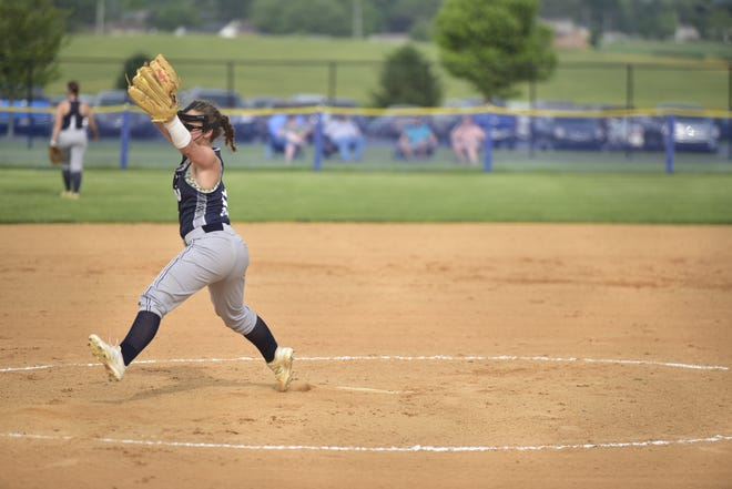 Chambersburg's Mackenzie Stake winds up against Manheim Township at Norlo Park in the District 3 quarterfinals.