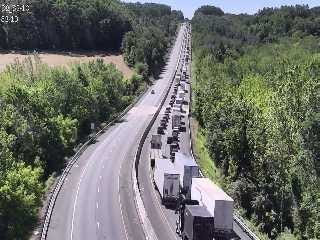 Traffic was backed up for miles after crews closed a portion of Interstate 83 near Shrewsbury Friday, May 24. Photo courtesy of 511pa.com.