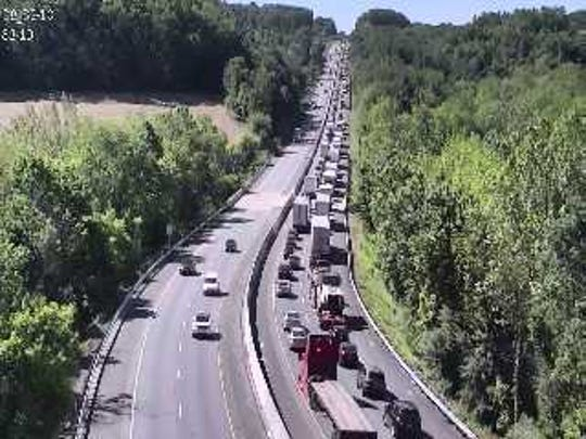 Traffic was backed up on I-83 South near Exit 10 when the highway was shut down after a fatal crash in the Shrewsbury area on Friday, May 24. The highway was closed for about 10 hours while police investigated.