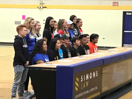 Reed had 17 students sign for college athletics Thursday.
