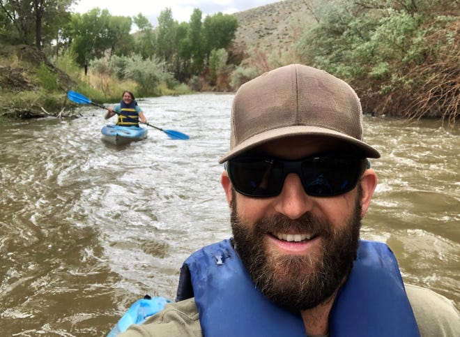 Park Supervisor Randy Denter takes a selfie as he guides Mason Valley News reporter Amy Alonzo down the Walker River.